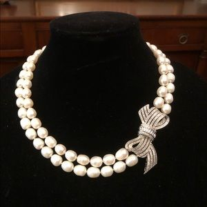 Jewelry - Genuine 2 Strand Pearl Necklace with CZ Connector